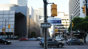 Lake This Way sign, University Ave, Toronto
