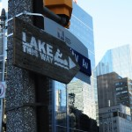 Lake This Way sign, University Ave, Toronto